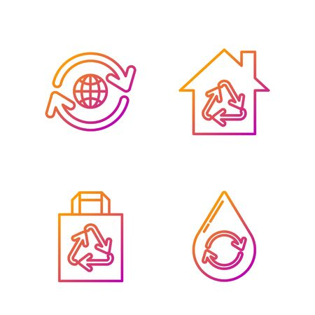 Set line Recycle clean aqua, Paper shopping bag with recycle, Planet earth and a recycling and Eco House with recycling symbol. Gradient color icons. Vector Archivio Fotografico - 138436330