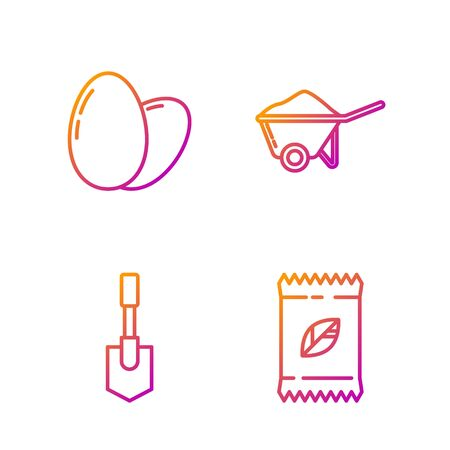 Set line A pack full of seeds of a specific plant, Shovel, Chicken egg and Wheelbarrow with dirt. Gradient color icons. Vector