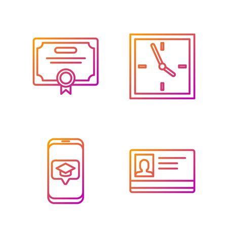 Set line Identification badge, Graduation cap on screen smartphone, Certificate template and Clock. Gradient color icons. Vector Stok Fotoğraf - 138436409