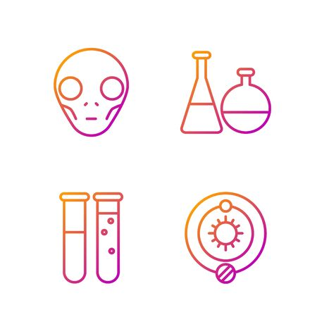 Set line Solar system, Test tube and flask chemical laboratory, Extraterrestrial alien face and Test tube and flask chemical laboratory. Gradient color icons. Vector