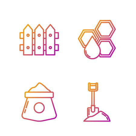 Set line Shovel in the ground, Bag of flour, Garden fence wooden and Honeycomb. Gradient color icons. Vector