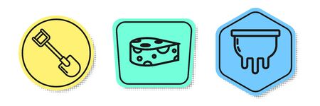 Set line Shovel, Cheese and Udder. Colored shapes. Vector