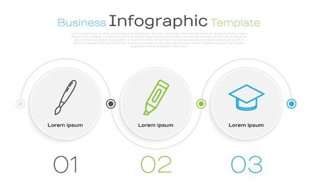Set line Paint brush, Marker pen and Graduation cap. Business infographic template. Vector