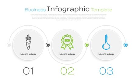 Set line Carrot, Banner, label, tag and Onion. Business infographic template. Vector Ilustracja