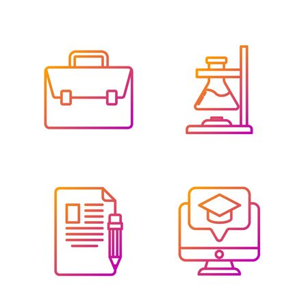 Set line Monitor with graduation cap, Exam sheet and pencil with eraser, Briefcase and Glass test tube flask on fire. Gradient color icons. Vector