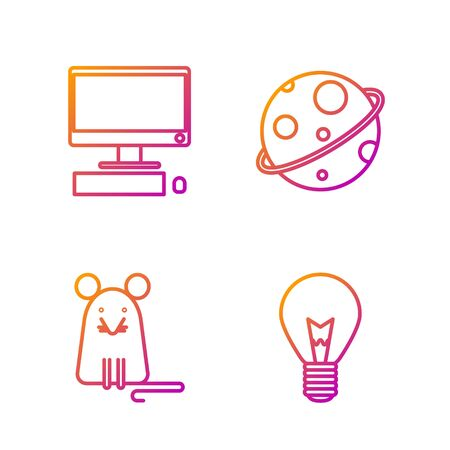 Set line Light bulb with concept of idea, Rat, Computer monitor with keyboard and mouse and Planet. Gradient color icons. Vector