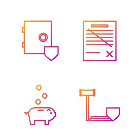 Set line Judge gavel with shield, Piggy bank with coin, Safe with shield and Delete file document. Gradient color icons. Vector