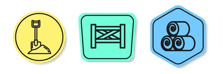 Set line Shovel in the ground, Garden fence wooden and Roll of hay. Colored shapes. Vector
