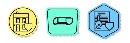Set line House with shield, Delivery cargo truck with shield and Document with key with shield. Colored shapes. Vector Standard-Bild - 138435798