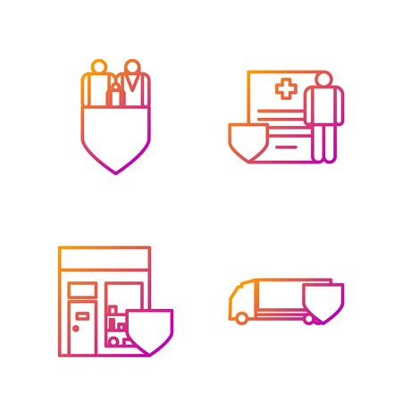 Set line Delivery cargo truck with shield, Shopping building with shield, Family insurance with shield and Medical clipboard with clinical record. Gradient color icons. Vector