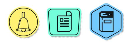 Set line Ringing bell, Document and Book. Colored shapes. Vector