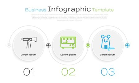 Set line Telescope, Electrical measuring instruments and Rat. Business infographic template. Vector