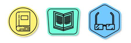 Set line Book, Open book and Glasses. Colored shapes. Vector Ilustracja