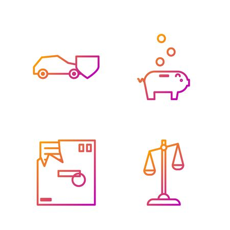 Set line Scales of justice, Ordered envelope, Car with shield and Piggy bank with coin. Gradient color icons. Vector