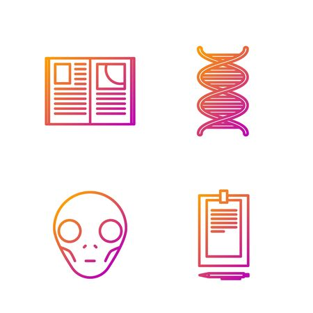Set line Clipboard with document, Extraterrestrial alien face, Open book and DNA symbol. Gradient color icons. Vector