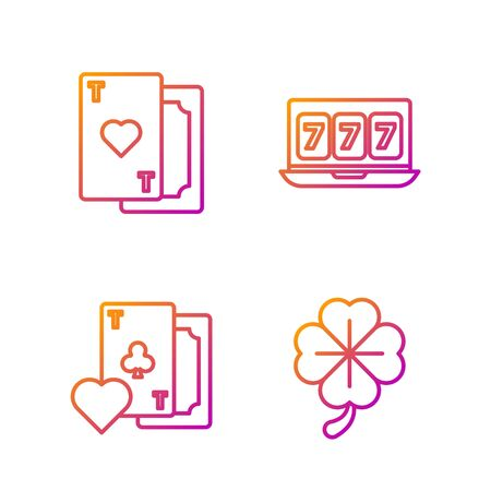 Set line Four leaf clover, Playing card with clubs symbol, Playing card with heart and Online slot machine with lucky sevens jackpot. Gradient color icons. Vector