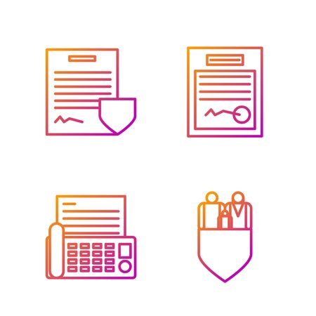 Set line Family insurance with shield, Fax machine, Contract with shield and Filled form. Gradient color icons. Vector