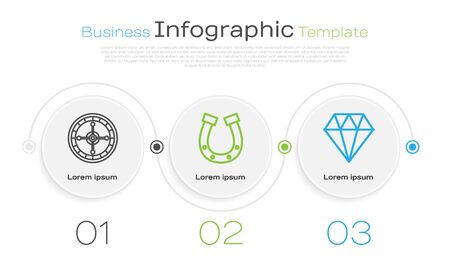 Set line Casino roulette wheel, Horseshoe and Diamond. Business infographic template. Vector