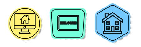 Set line Computer monitor with smart home, Doormat with the text Welcome and Home symbol. Colored shapes. Vector