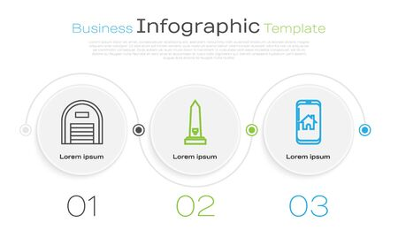 Set line Warehouse, Washington monument and Mobile phone with smart home. Business infographic template. Vector Çizim