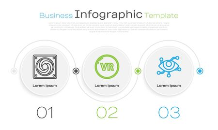 Set line Computer cooler, Virtual reality and Virtual reality. Business infographic template. Vector