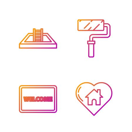 Set line House with heart shape, Doormat with the text Welcome, Swimming pool with ladder and Paint roller brush. Gradient color icons. Vector