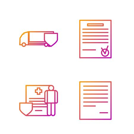 Set line Document, Medical clipboard with clinical record, Delivery cargo truck with shield and Confirmed document and check mark. Gradient color icons. Vector Stock fotó - 138436215