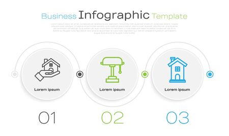 Set line Table lamp and Home symbol. Business infographic template. Vector  イラスト・ベクター素材