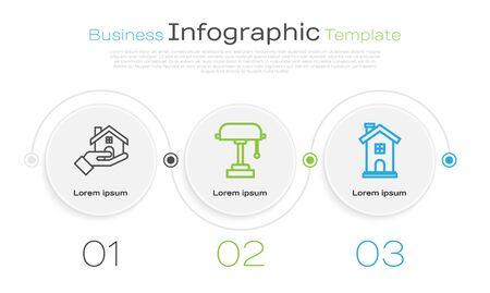 Set line Table lamp and Home symbol. Business infographic template. Vector Illusztráció