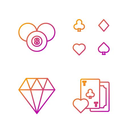 Set line Playing card with clubs symbol, Diamond, Billiard pool snooker 8 ball and Playing cards. Gradient color icons. Vector