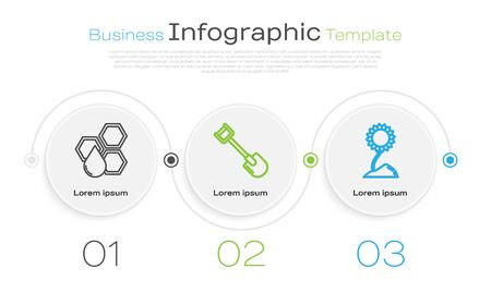 Set line Honeycomb, Shovel and Sunflower. Business infographic template. Vector