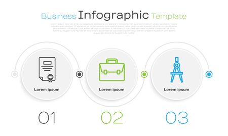 Set line Certificate template, Briefcase and Drawing compass. Business infographic template. Vector