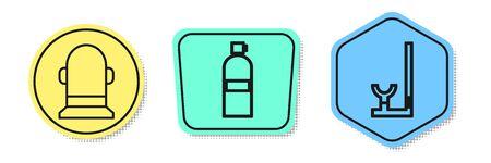 Set line Buoy, Aqualung and Snorkel. Colored shapes. Vector Banque d'images - 138436398