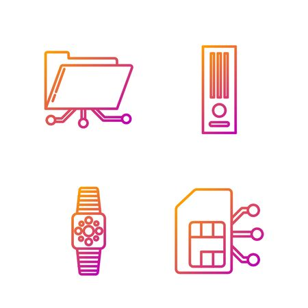 Set line Sim card, Smartwatch, Folder and lock and Video game console. Gradient color icons. Vector