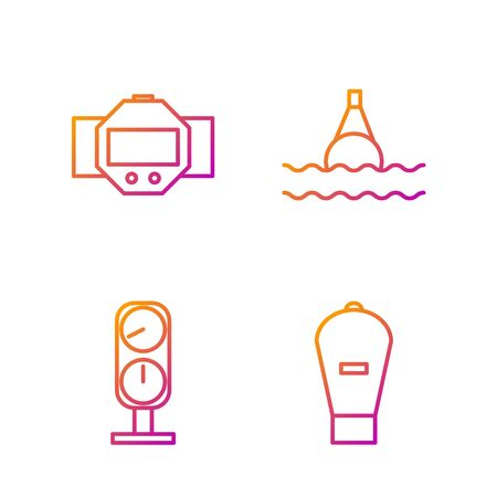 Set line Lift bag, Gauge scale, Diving watch and Floating buoy on the sea. Gradient color icons. Vector
