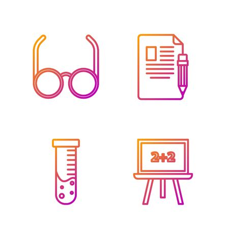 Set line Chalkboard, Test tube and flask chemical laboratory, Glasses and Exam sheet and pencil with eraser. Gradient color icons. Vector