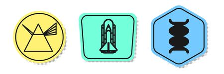 Set line Light rays in prism, Space shuttle and rockets and DNA symbol. Colored shapes. Vector Archivio Fotografico - 138436469