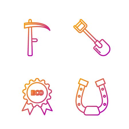Set line Horseshoe, Banner, label, tag, Scythe and Shovel. Gradient color icons. Vector