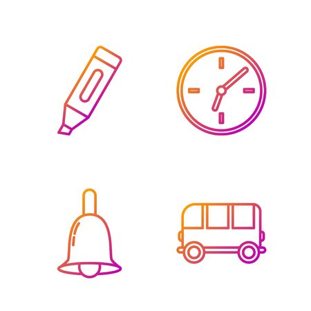 Set line School Bus, Ringing bell, Marker pen and Clock. Gradient color icons. Vector Stok Fotoğraf - 138436009