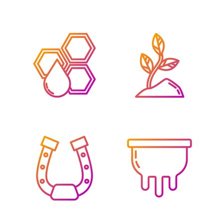 Set line Udder, Horseshoe, Honeycomb and Sprout. Gradient color icons. Vector