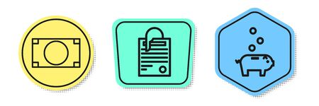 Set line Stacks paper money cash, File document and paper clip and Piggy bank with coin. Colored shapes. Vector
