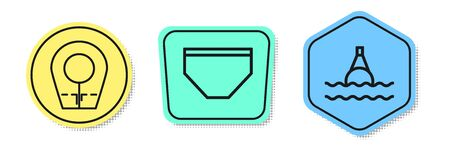 Set line Diving hood, Swimming trunks and Floating buoy on the sea. Colored shapes. Vector Ilustração