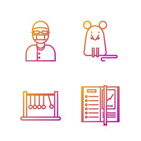 Set line Notebook, Pendulum, Assistant and Rat. Gradient color icons. Vector