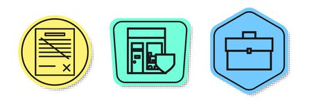 Set line Delete file document, Shopping building with shield and Briefcase. Colored shapes. Vector