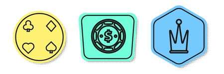 Set line Playing cards, Casino chip with dollar and Crown. Colored shapes. Vector