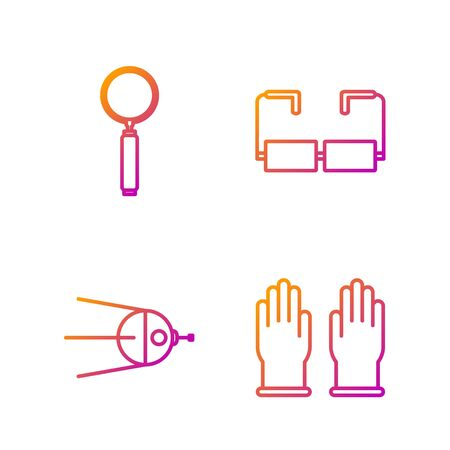 Set line Rubber gloves, Satellite, Magnifying glass and Glasses. Gradient color icons. Vector