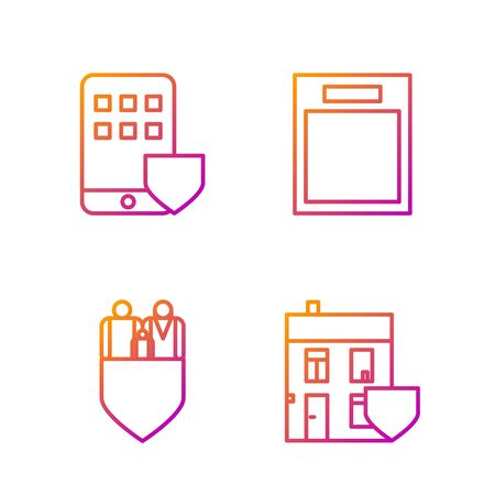 Set line House with shield, Family insurance with shield, Smartphone insurance and Empty form. Gradient color icons. Vector Stock fotó - 138436132