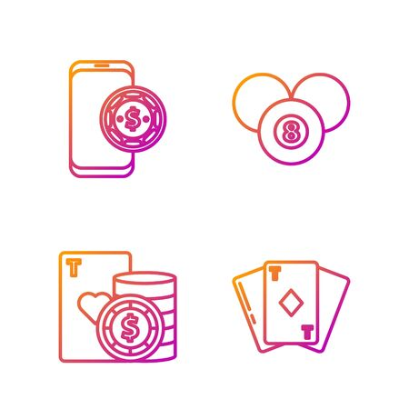 Set line Playing card with diamonds, Casino chip and playing cards, Online poker table game and Billiard pool snooker 8 ball. Gradient color icons. Vector