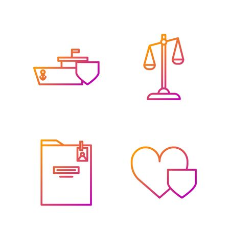 Set line Heart with shield, Personal folder, Ship with shield and Scales of justice. Gradient color icons. Vector