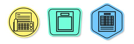 Set line Fax machine, Empty form and Report file document. Colored shapes. Vector